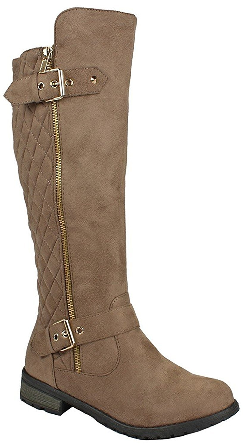 Forever Mango-21 Women's Winkle Back Shaft Side Zip Knee High Flat Riding Boots Taupe Nubuck 7.5