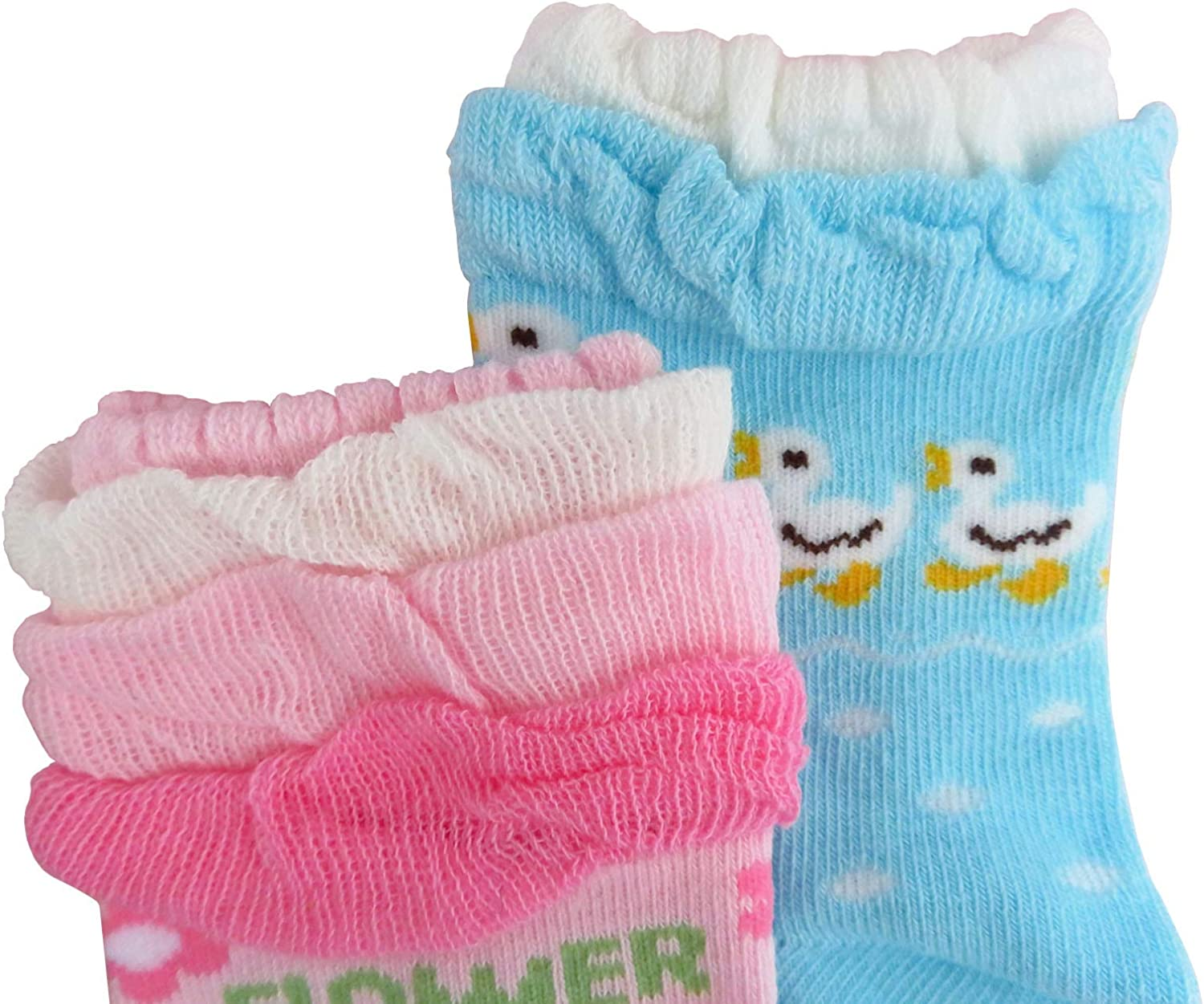 JIEEN Baby Girls Cute Cartoon Socks Non-skid Lace Colorful Sports Ankle Crew Socks Princess