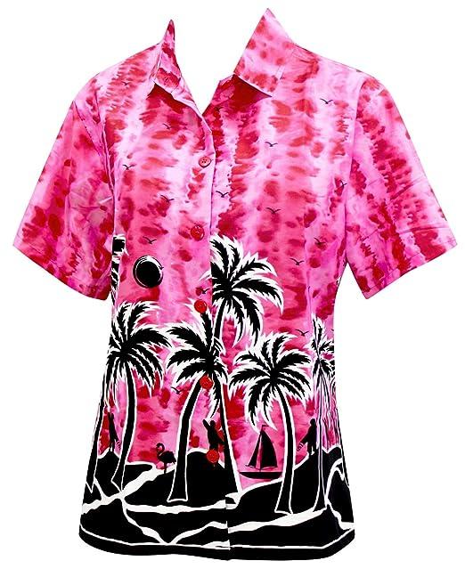 Hawaiano botón de la Camisa Blusas Mujeres aptas Abajo relajados Mangas Cortas Campo de Color Rosa: Amazon.es: Ropa y accesorios