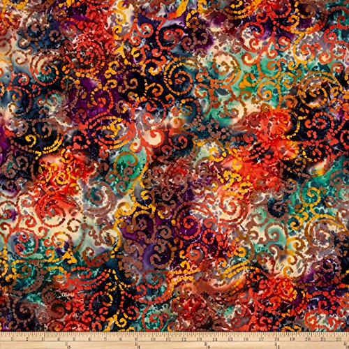 Textile Creations Indian Batik Cascades Scroll Orange Teal Fabric by The Yard, Orange ()