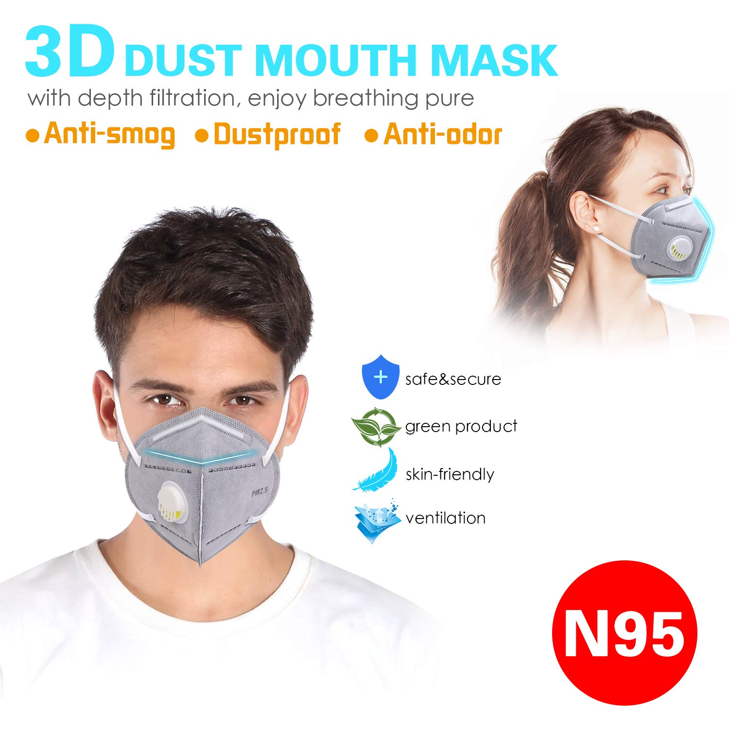 Disposable Dust Masks,WU-MINGLU Safety N95 Particulate Respirator Mask with Breathing Valve,Multi-Layer Protection,PM2.5 Filter,Personal Protective Equipment for Home,Outdoors (20 Packs)
