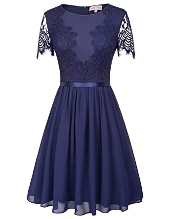 Women Floral Lace Bridesmaid Party Dress Short Prom Dress Crew Neck Navy Blue 482-2