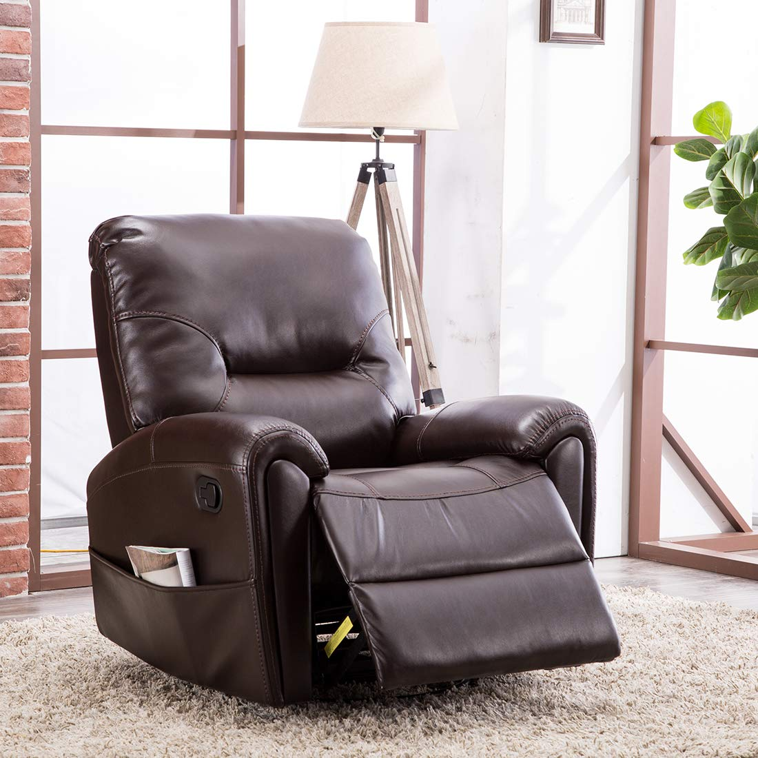 Canmov breathable bonded leather recliner living room chair classic and traditional single seat sofa manual swivel recliner chair with overstuffed arms and