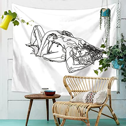 Hliyty Women men Kissing Tapestry Pink Wall Hanging Decor Line Art Home  Decor 8e273551f6