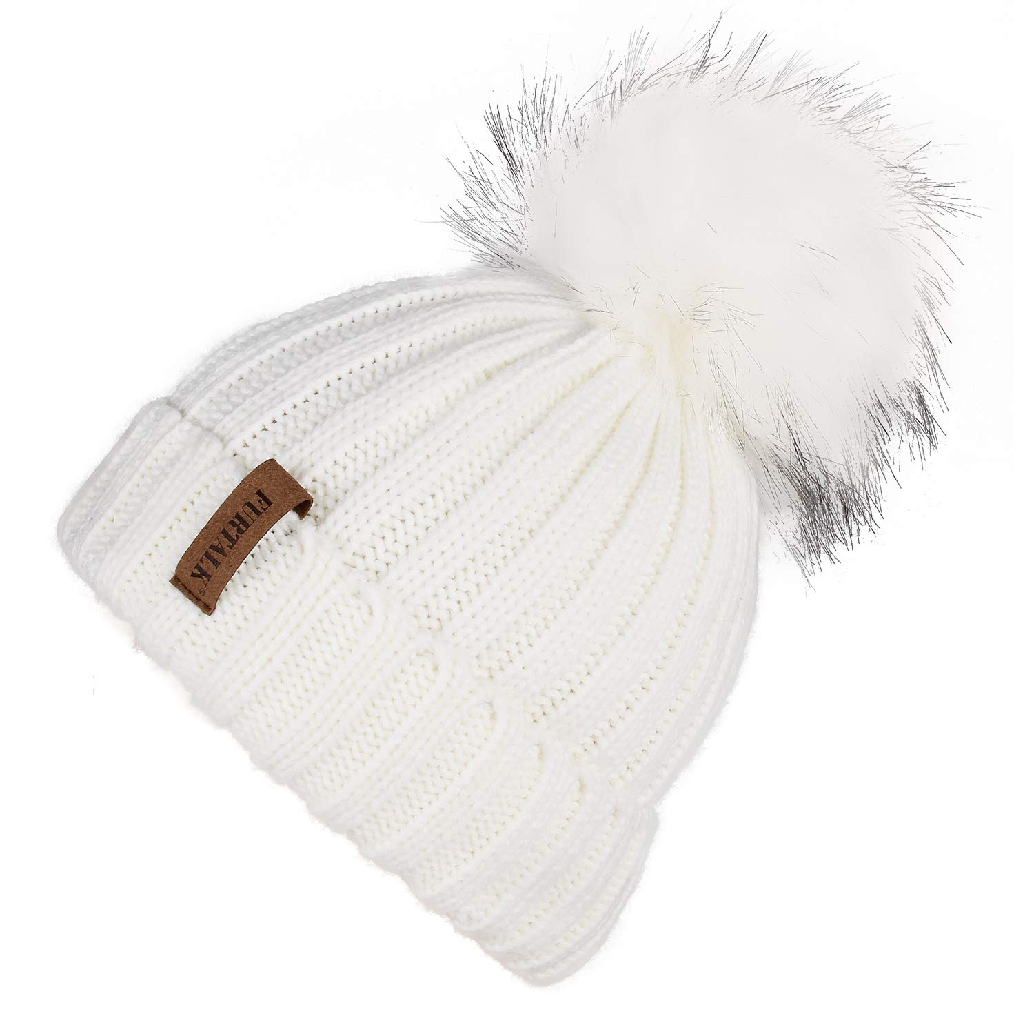 FURTALK Kids Winter Knitted Faux Fur Pom Pom Cap Toddler Boys Girls Kids Beanie Hat (Ages 1-6) (One Size, White+White pom) by FURTALK