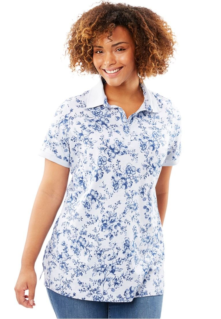 Women's Plus Size Perfect Printed Polo T-Shirt by Woman Within (Image #1)