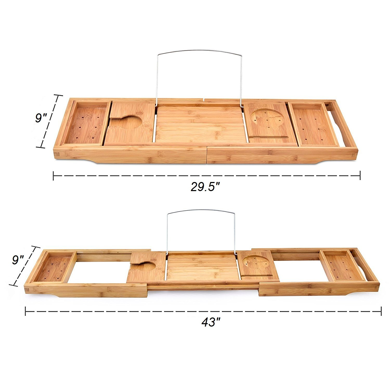 YYY Luxury Extendable Bamboo Bathtub Caddy Tray, Adjustable Tablet, Phone Holder/Wine Glass Slot/2 Towel Tray