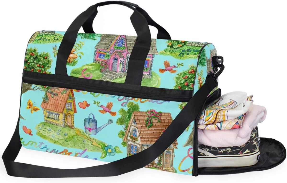 AHOMY Watercolor Garden House Bird Sports Gym Bag with Shoes Compartment Travel Duffel Bag