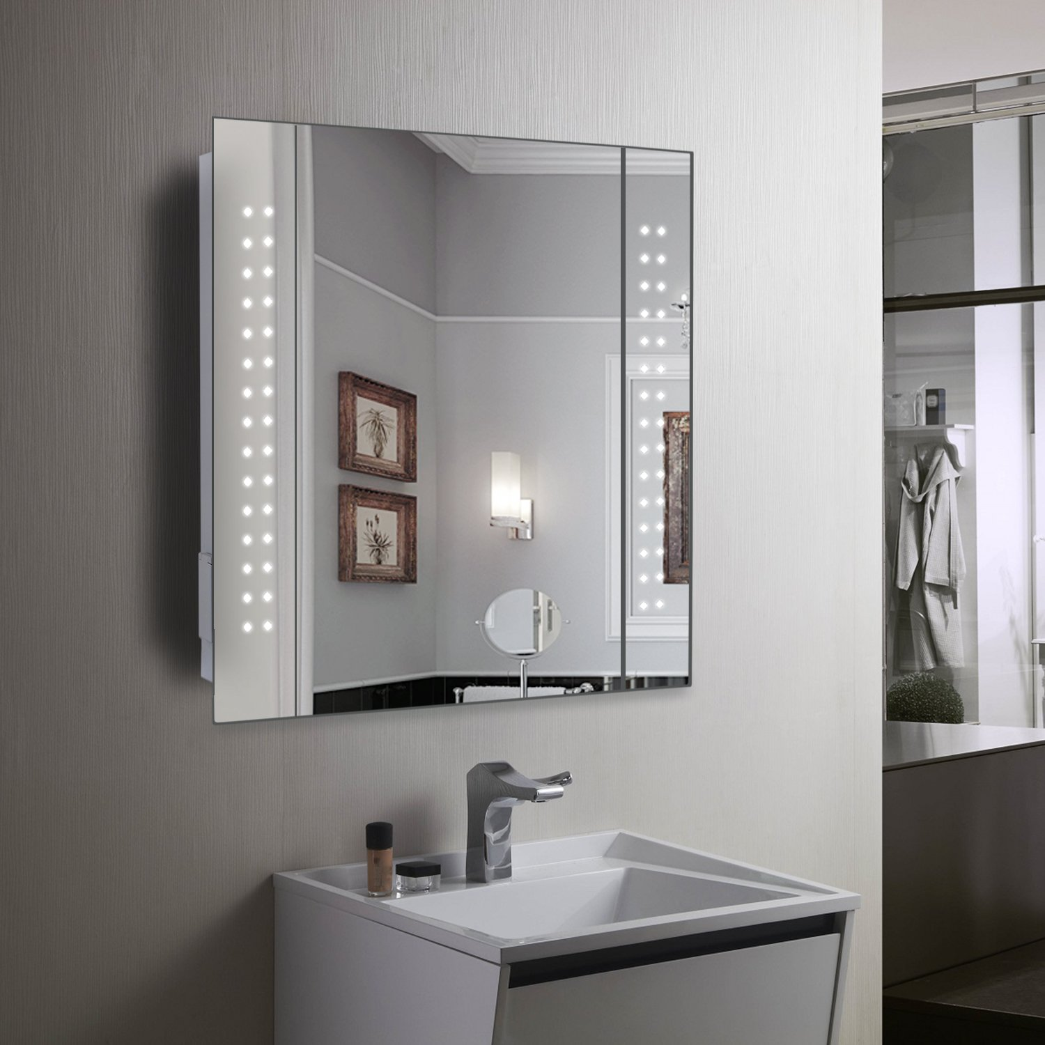 Mirror Cabinet 60 LED Light Illuminated Bathroom With Demister Shaver Socket 600 X 650mm Amazoncouk DIY Tools