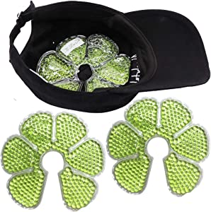 HI FINE CARE Ice Pack for Hat, Cooling Pack in Helmet Cap Cold Gel Bead Pads, Summer Ice Pack for Sun Hat Cooling Hat for Women Men, 2 Count (Green)