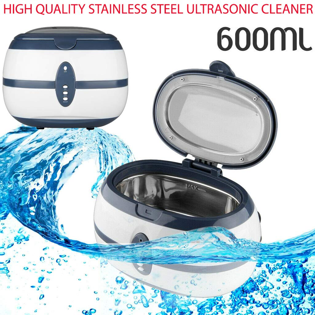 35W 600Ml Stainless Steel Ultrasonic Cleaner Sonic Bath Tank Jewelry Ring - Household Commodities, Glasses, Coins Suitable for Cleaning Off Dirt, Dust & Smears for Professional & Home Use by Sunnady