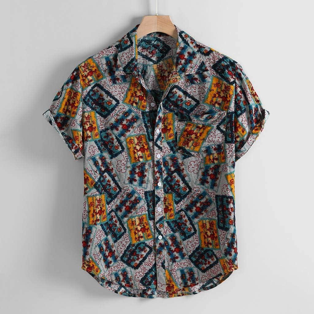 Halfbye Mens Leisure Regular Fit Short Sleeve Shirt Print Tops Lapel Blouse Turn-Down Collar Round Hem Button Shirts