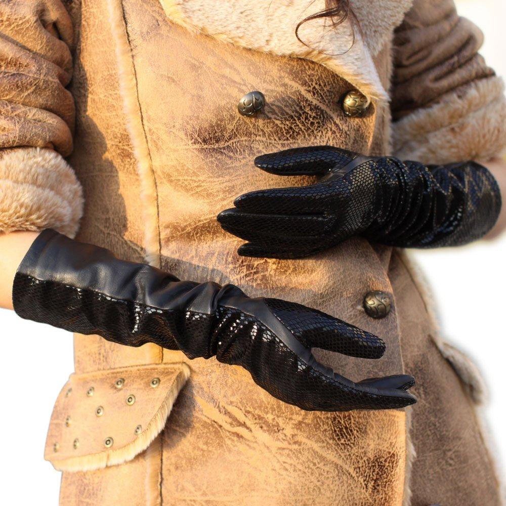 WARMEN Women's Fashion Shining Geniune Leather Long Eblow Driving Gloves (M, Black)