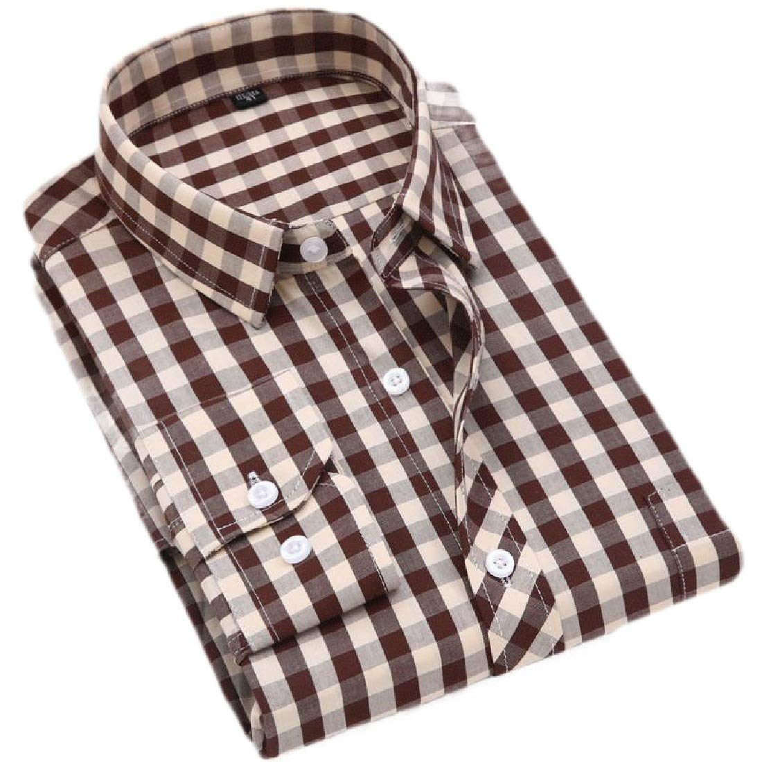 Domple Mens Plaid Shirt Button Down Business Long Sleeve Regular Fit Button Down Dress Shirt