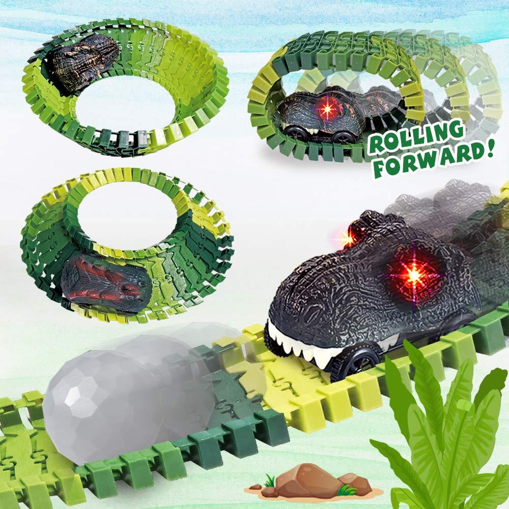 2 LED Light Up Dinosaur Cars Dinosaur Toy for Kids Boys Children Girls Ages 3+ Dinosaur Track Toy Set 305 Piece Dinosaur Car Race Track Toy with 264 Flexible Tracks Create a Dinosaur Track