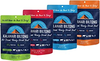 product image for Variety Pack Kalahari Biltong, Air-Dried Thinly Sliced Beef, 2oz (Pack of 4), Sugar Free, Gluten Free, Keto & Paleo, High Protein Snack