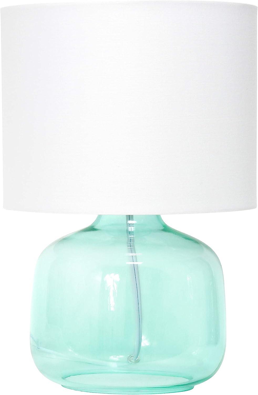 Simple Designs LT2064-AOW Glass Raindrop Fabric Shade Table Lamp, Aqua/White