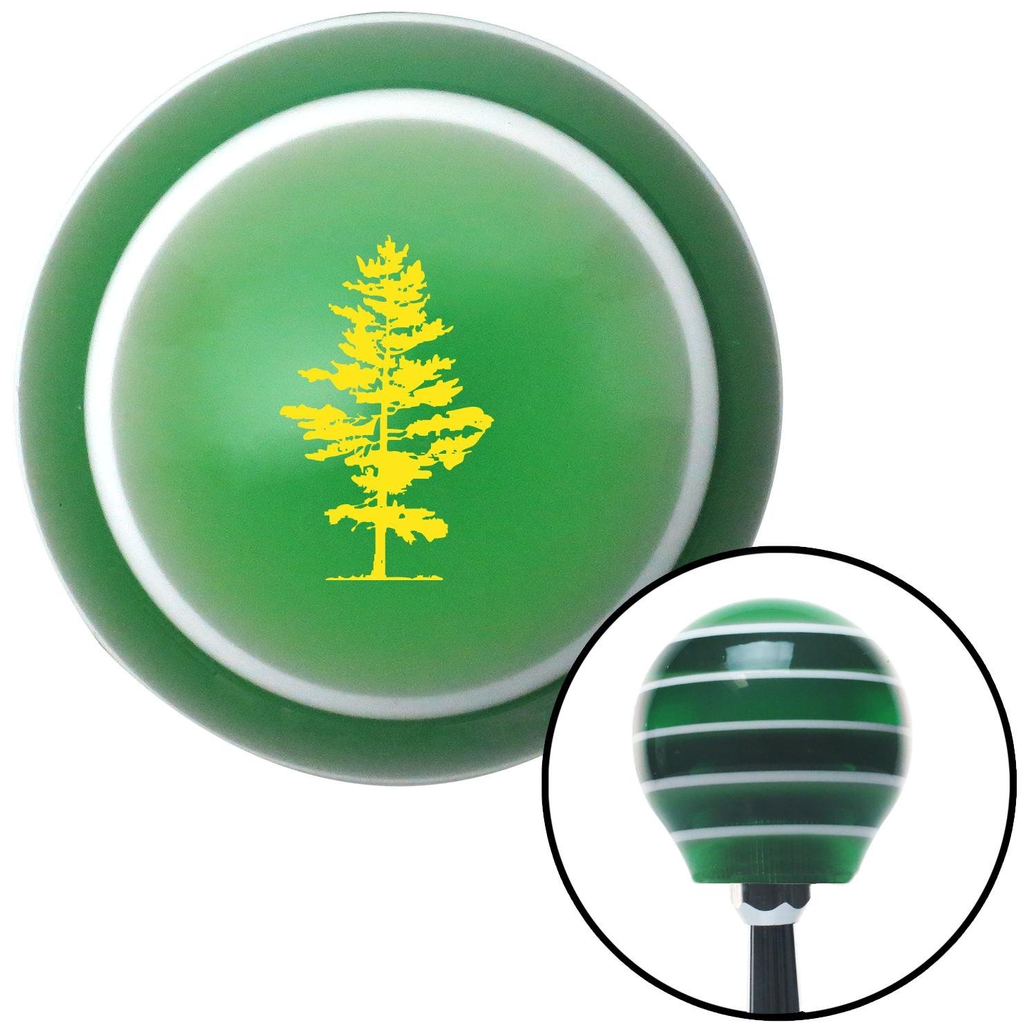 Yellow Evergreen Tree American Shifter 125674 Green Stripe Shift Knob with M16 x 1.5 Insert