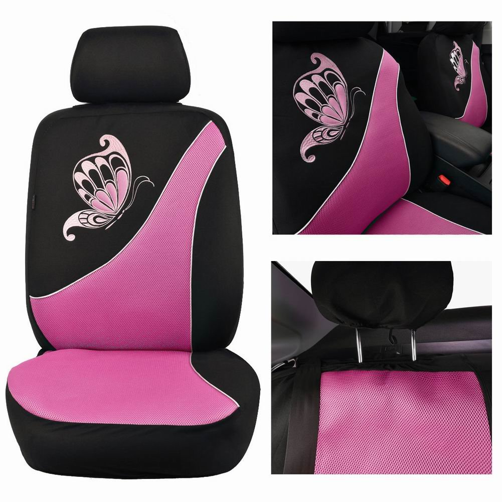 Ltd Ningbo Qiyang International Trade Co Flying Banner Purple Mesh Seat Cover for Trucks Universal Seat Covers for Cars Full Set with Butterfly Embroidery Design 11 Pcs, Pink