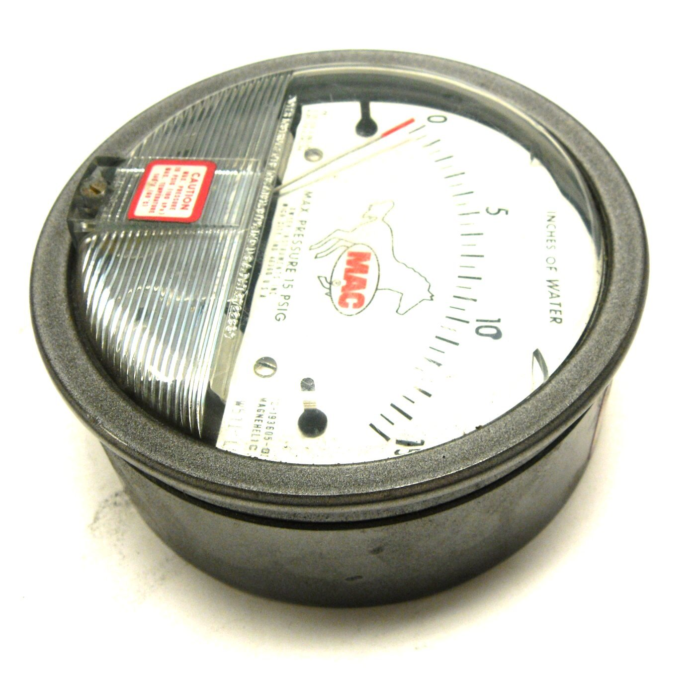 NEW DWYER 193605-00 GAUGE 0-15 INCHES OF WATER MAC 12-193605 ...