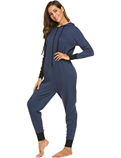 7a3e192388 Ekouaer Family Pajamas Hooded One Piece Coupe Pajamas Onesie Jumpsuit Adult  for Men Non Footed Women