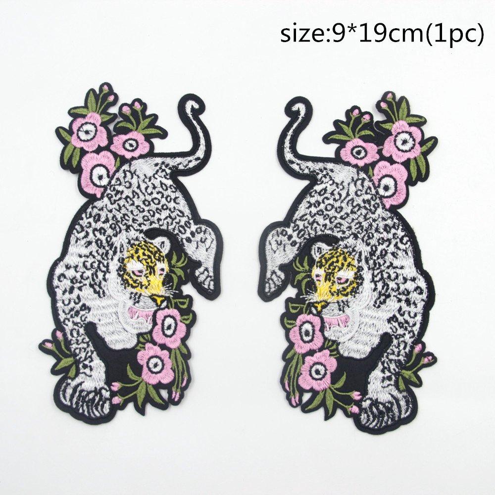 1d81a2c9191ec Amazon.com: 2Pcs/Pair Leopard Panther Patches with Pink Flowers ...