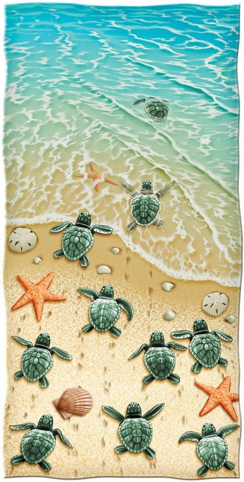 Dawhud Direct Turtles on The Beach Cotton Beach Towel