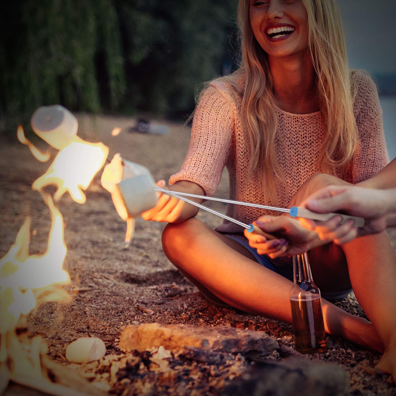 kubo Telescoping Marshmallow Roasting Sticks Set of 8 Hot Dog Forks&Smores Skewers Camping Cookware 32 Inch Campfire Roasting Sticks for Kids by kubo (Image #5)