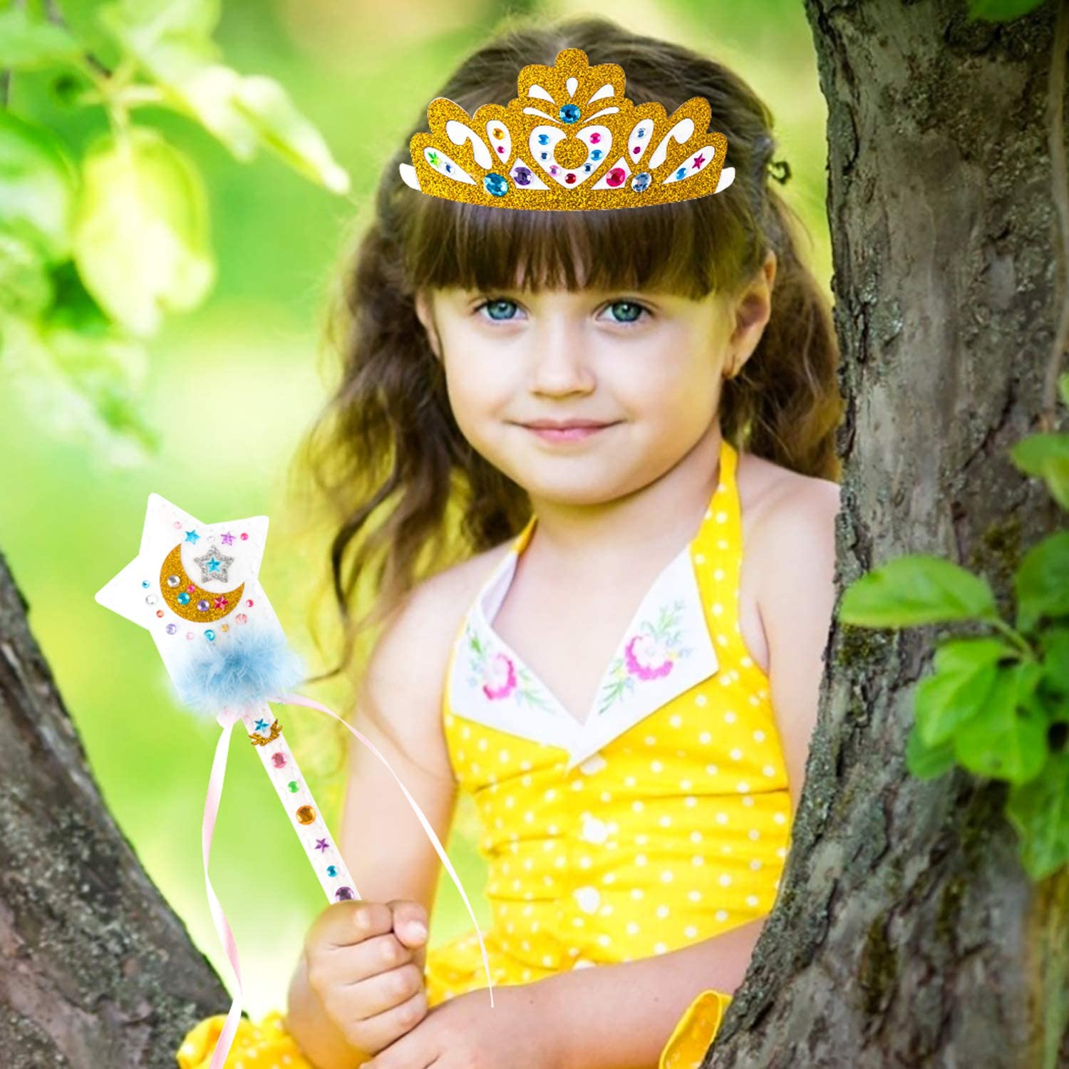WATINC 18Pcs Make Your Own Princess Wand Craft/Kit DIY/Projects Sewing Kits Glitter Tiara Crowns Fairy Wands Jewel Bracelet Set Princess Toys Pretend Play Party Supplies Gifts for Little Girls