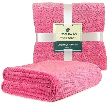 Amazon PAVILIA Luxury Soft Plush Pink Throw Blanket For Sofa Enchanting Pink Chevron Throw Blanket