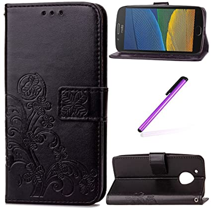 half off 3e302 4ec85 Moto G5 Plus Case,Motorola Moto G Plus 5th Case, LEECOCO Embossed Lucky  Clover Floral Design with Card Slots Magnetic Flip Stand PU Leather Wallet  ...