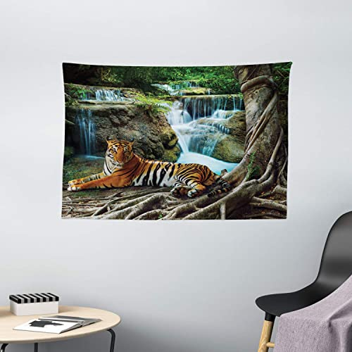 Ambesonne Safari Tapestry, Indochina Tiger Laying Under Banyan Tree Against Limestone Waterfall Relaxing Nature, Wide Wall Hanging for Bedroom Living Room Dorm, 60 X 40 , Green Brown