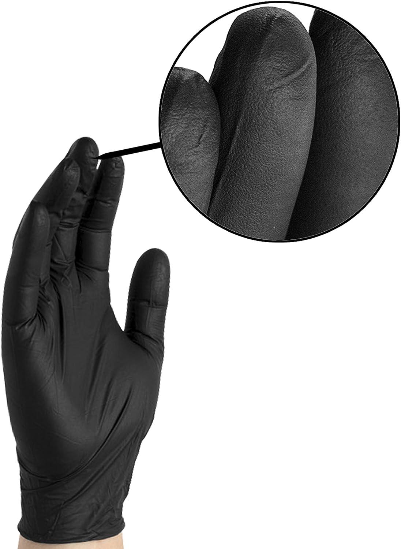 Desechables por Ammex Plus Negro nitrilo Guante Peque/ño Caja de 100 Libre de l/átex Hcxbb-1 Guante Size : M sin Polvo