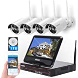 """[8CH,Expandable] All in one with 10.1"""" Monitor Wireless Security Camera System, Cromorc Home Business CCTV Surveillance 1080P"""