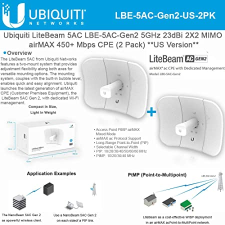 Ubiquiti LiteBeam Gen 2 LBE-5AC-Gen2-US 2X2 MIMO airMAX 5GHz 23dBi 450Mbps-2PACK Wireless Access Points at amazon