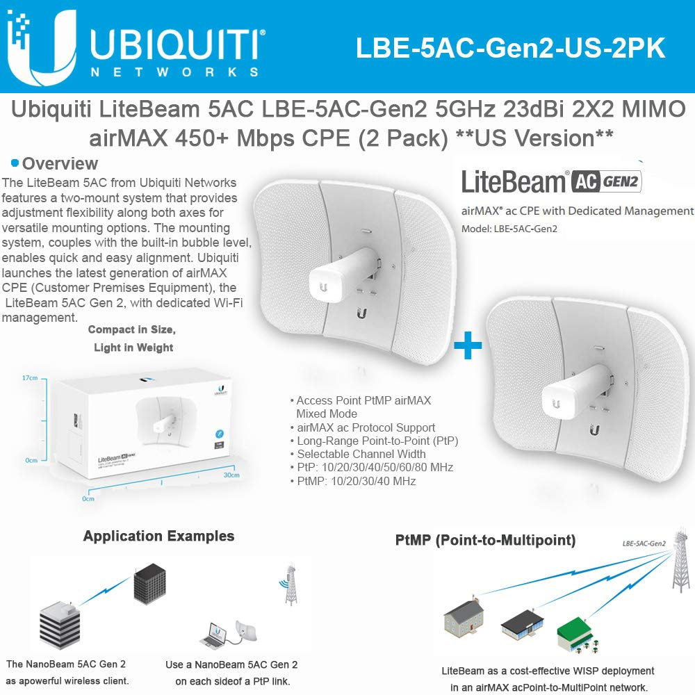 Ubiquiti LiteBeam Gen 2 LBE-5AC-Gen2-US 2X2 MIMO airMAX 5GHz 23dBi 450Mbps-2PACK