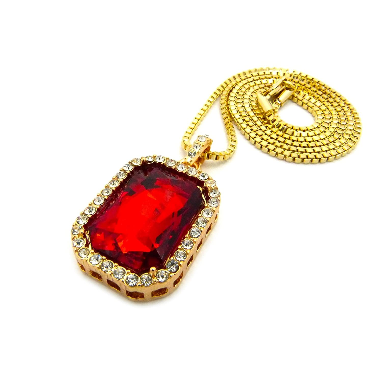 out product bling plated necklace square rhinestone red gold silver pendant discount ruby iced set hip