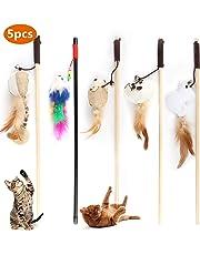 Emooqi Katzenspielzeug Feder, Interaktives Katzenspielzeug Set 5 Zauberstab mit 5 Stück Verschiedene Plüschtier Premium Holzstab mit Maus, Natur-Federn,Plüschtier & 42CM Super Elastisches Seil
