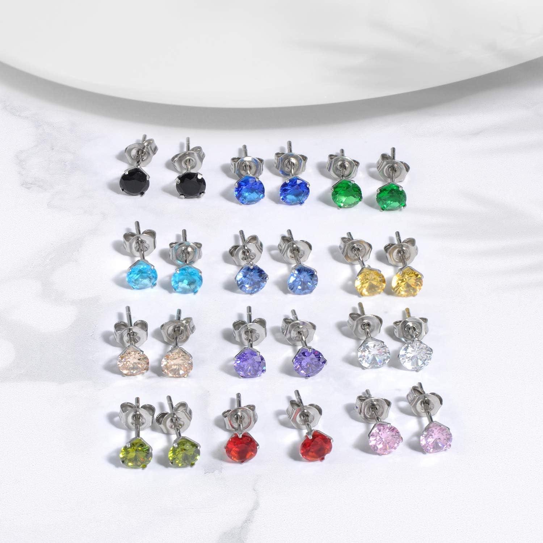 Feilok Lot de 12 paires de boucles doreilles cr/éoles en acier inoxydable pour homme et femme Multicolore