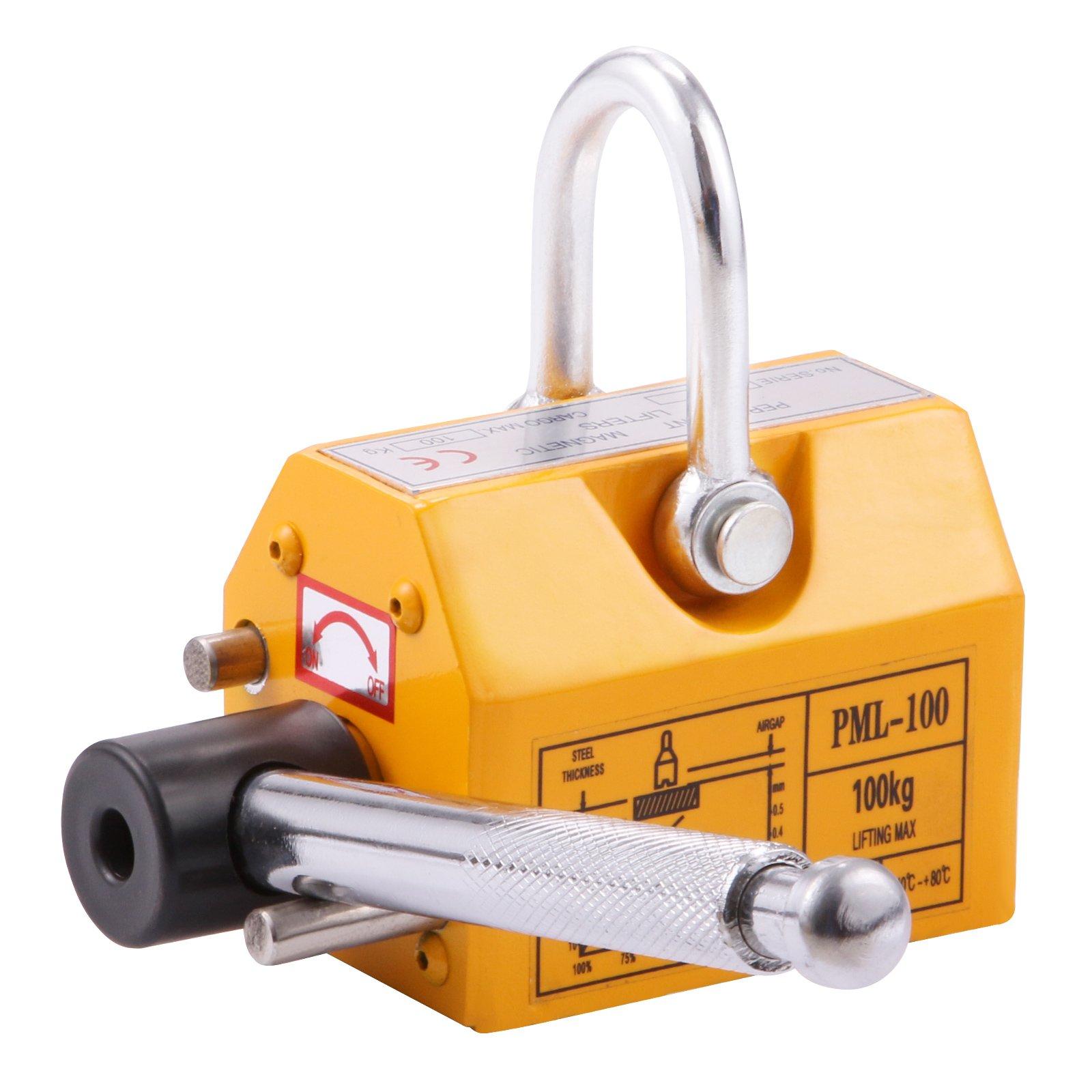 BestEquip Magnetic Lifter Heavy Duty Steel Magnetic Lifter Titanium Alloys Board Magnetic Metal Lifting (220 LBS)