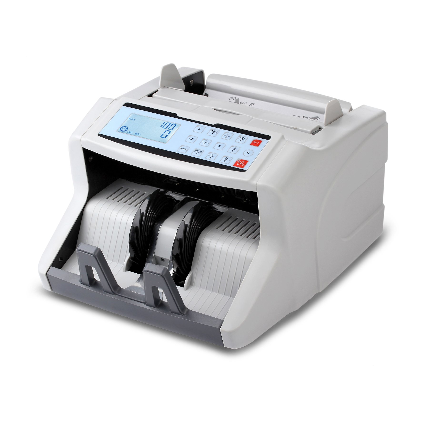 Upgraded Pyle Bill Counter Machine - Cash, Automatic Counting, Toploader, UV & MG Counterfeit Detection, UV Scanning, LCD Display, 1500 Pieces Per Min, U.S. & Canadian Dollar, Euros & Pound - PRMC500 by Pyle