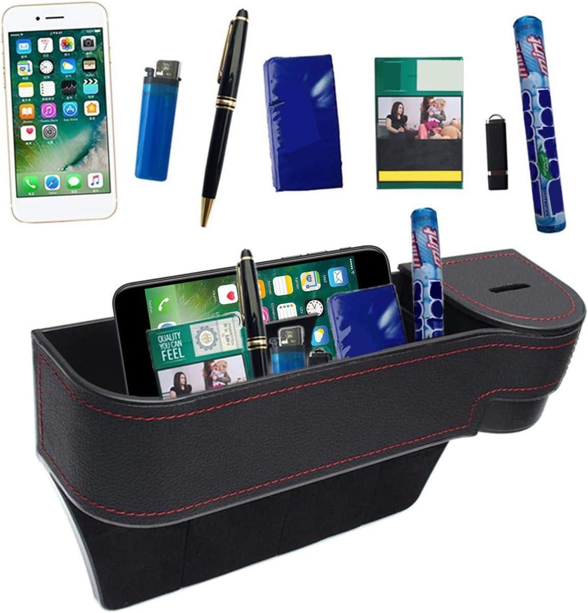 MengH-SHOP Autositz Aufbewahrungsbox Universal Seitentaschen Organizer PU Leder Auto Ablagefach F/ür Zus/ätzliche Lagerung Beige