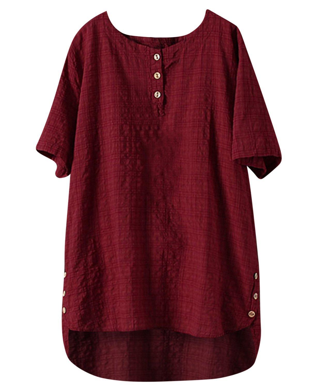Bbyes Women S Linen Tops Irregular Hem Buttons Up Shirts Blouse