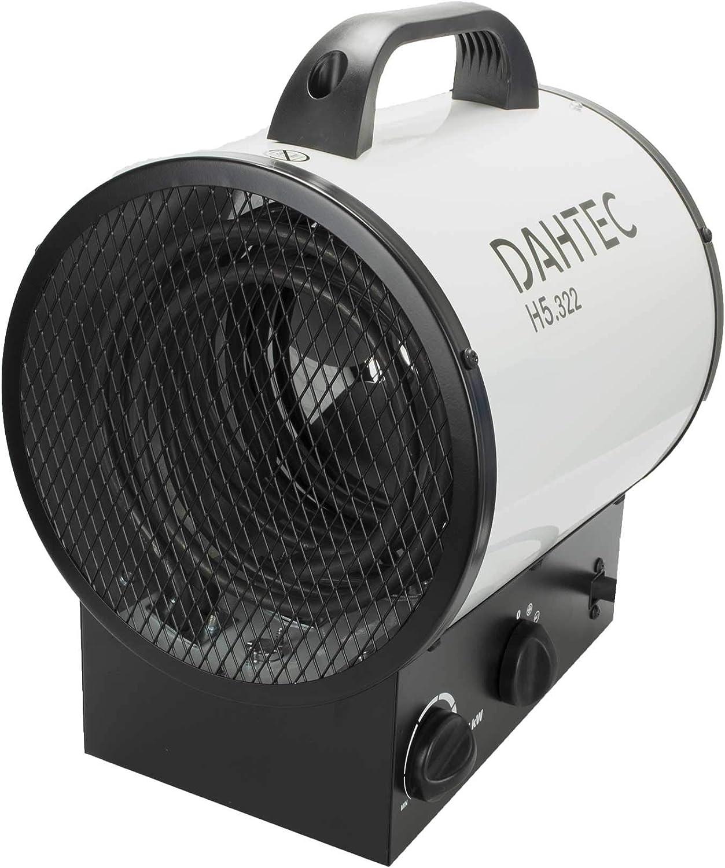 DAHTEC - H5.322 - Calefactor Ventilador eléctrico 5kW 5000 Watt - 3 Funciones Ajustables, termostato Ajustable, 400 V - para casa, Taller, Camping, Garaje, jardín