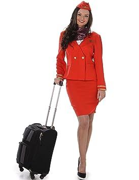 8f1bb80821d Karnival 81049 Red Flight Attendant Costume Women, Small