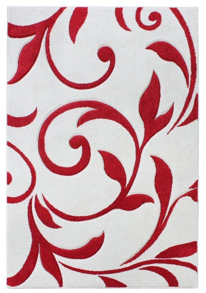 Teppich Wohnzimmer Carpet modernes Design VOQUE Ornament Rug 100% Polypropylene 160x230 cm Rechteckig Rot   Teppiche günstig online kaufen