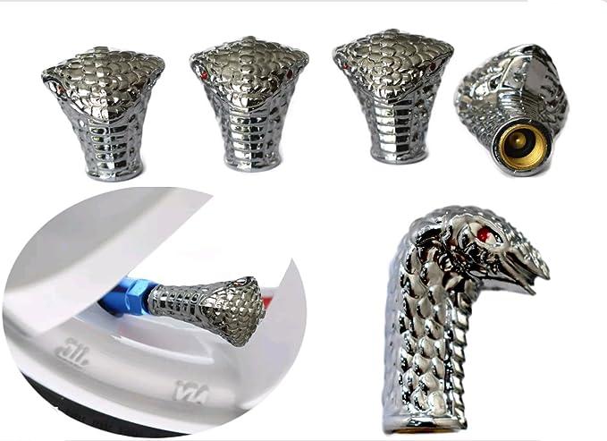 Ventilstaubkappen Für Autoräder Kobraschlangen Design Metalllegierung 4er Set Auto