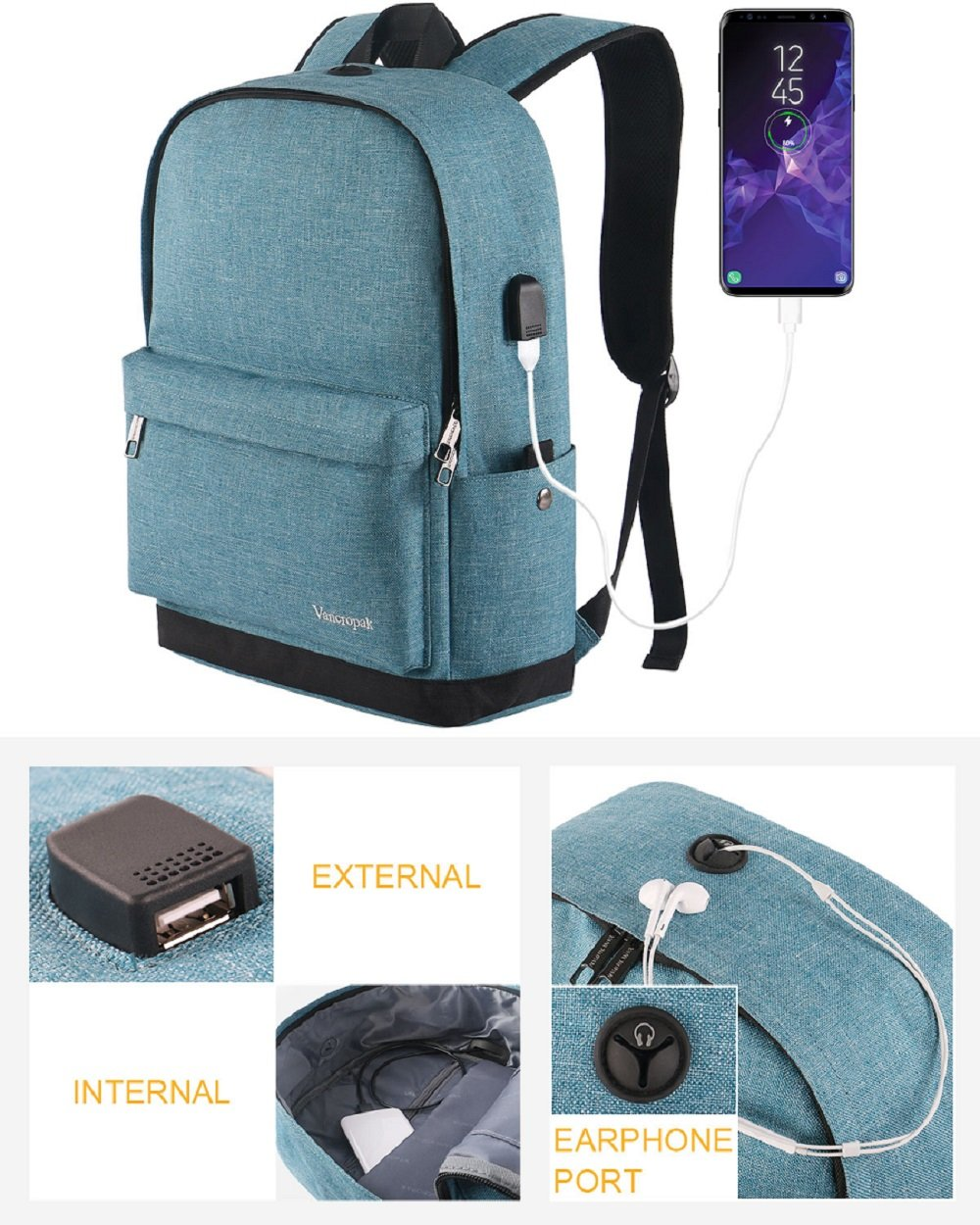 High School Backpack, Middle Student Bag with USB Port for Men Women Teen, Causel Basic Bookbag Fits 15.6 Inch Laptop/Notebook Designed for Travel Work Study - Purplish Blue by Vancropak (Image #2)