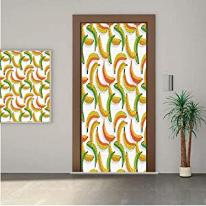 Ylljy00 Fruits Door Wall Mural Wallpaper Stickers,Retro Pop Art Trippy Banana Fractal Minimalist 80s Geometric Abstract Decorative 18x80 Vinyl Removable Decals for Home Decoration
