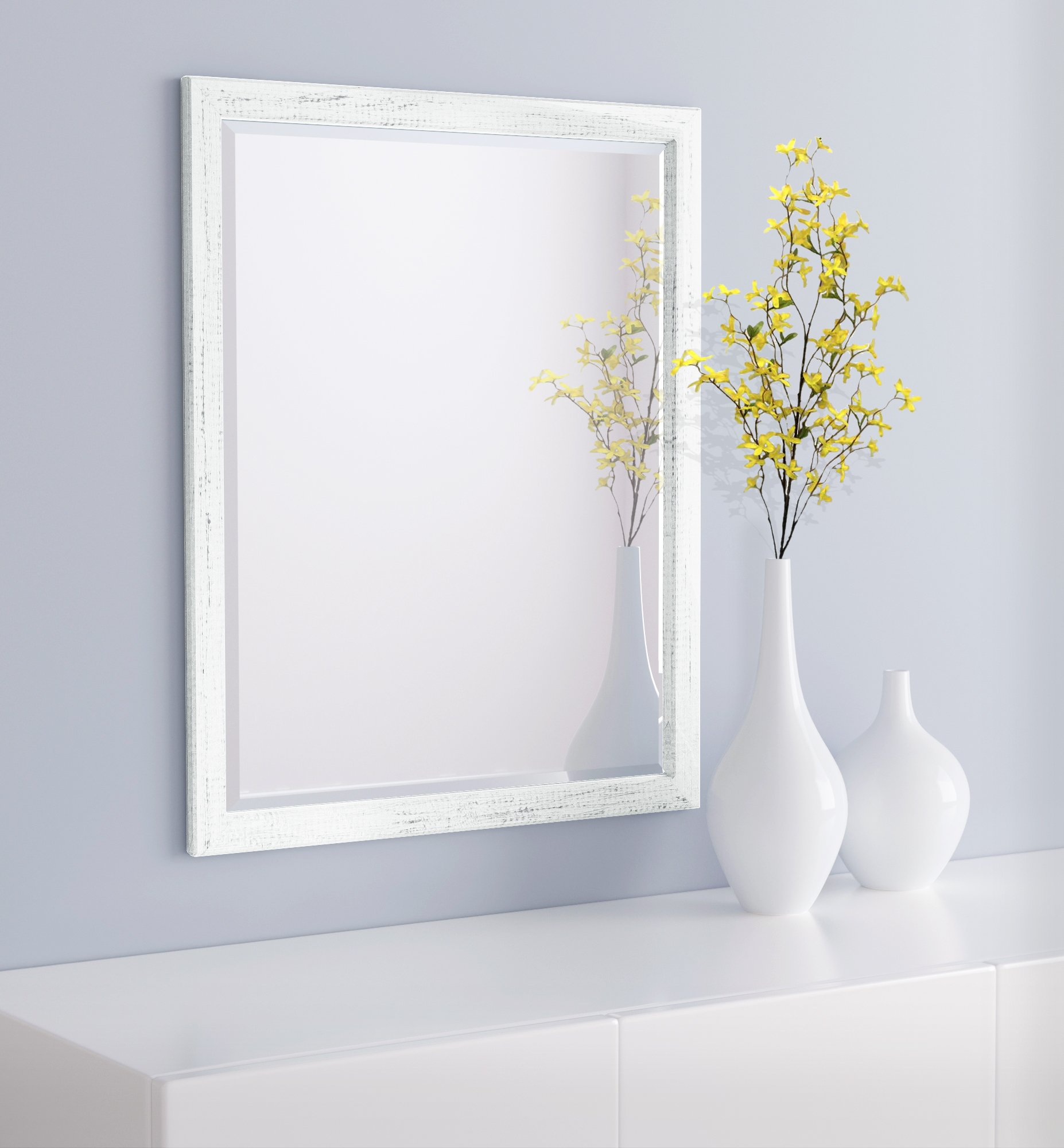 LND Reflections - Framed Beveled Mirror - 25''x31'' or 27''x39'' (27'' x 39'', Marshmallow White)